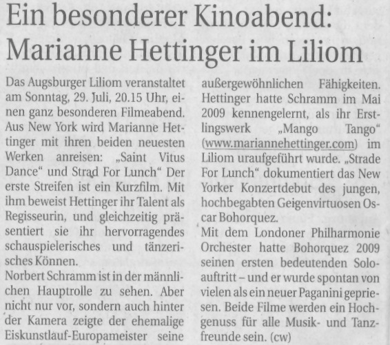 Press for Liliom screening of Marianne Hettinger films